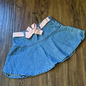 Gap Denim Skirt with Pink Bow